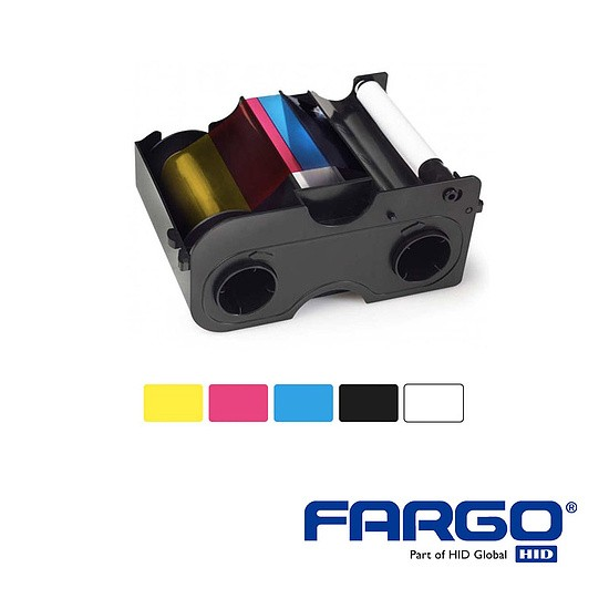HID Fargo DTC1250 YMCKO Half Panel Ribbon 350 Prints with cleaningrole-e